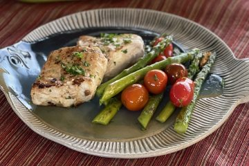 Sous Vide White Sea Bass with Asparagus and Cherry Tomatoes
