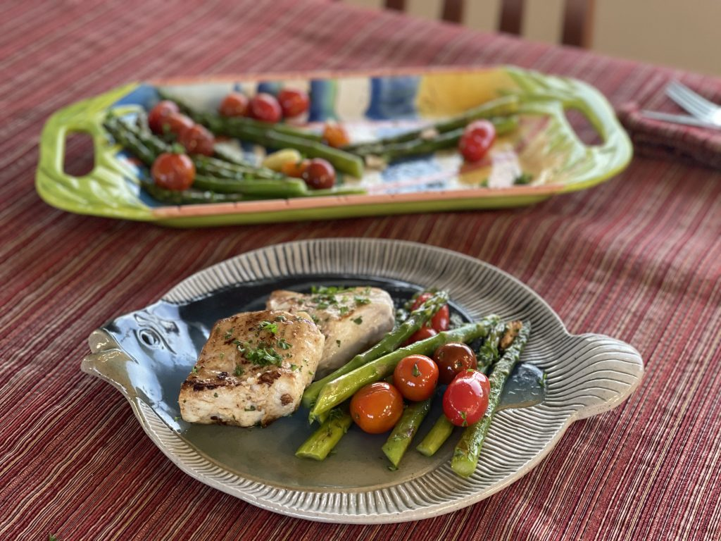 White Sea Bass with Asparagus and Cherry Tomatoes